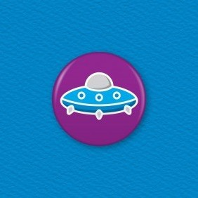Flying Saucer Button Badge