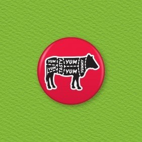 Butcher's Beef Cuts Button Badge
