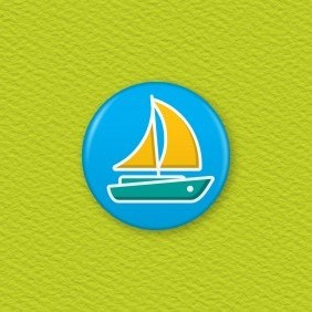 Sailing Boat Button Badge