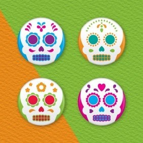Mexican Day Of The Dead 4 Badge Set