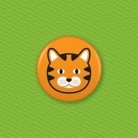 Tabby Cat Button Badge