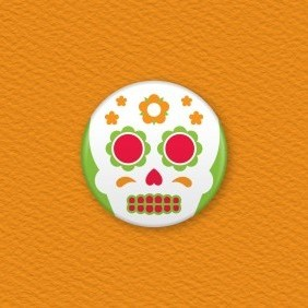 Mexican Day Of The Dead Button Badge