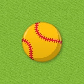 Softball Button Badge