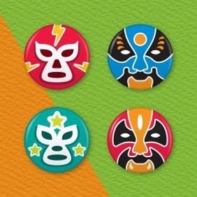 Chinese Opera & Mexican Wrestling Masks 4 Badge Set