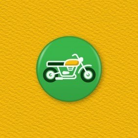 Classic Motorbike Button Badge